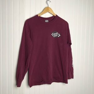 Santa Cruz graphic maroon long sleeve shirt